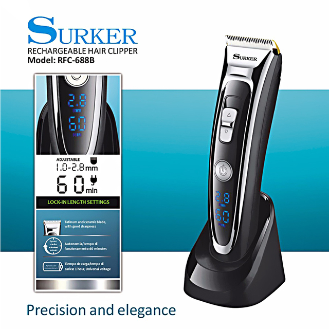 Surker Profession Hair Clipper Cordless Trimmer Men Electric Cutter Lcd Display Cutting Machine Haircut