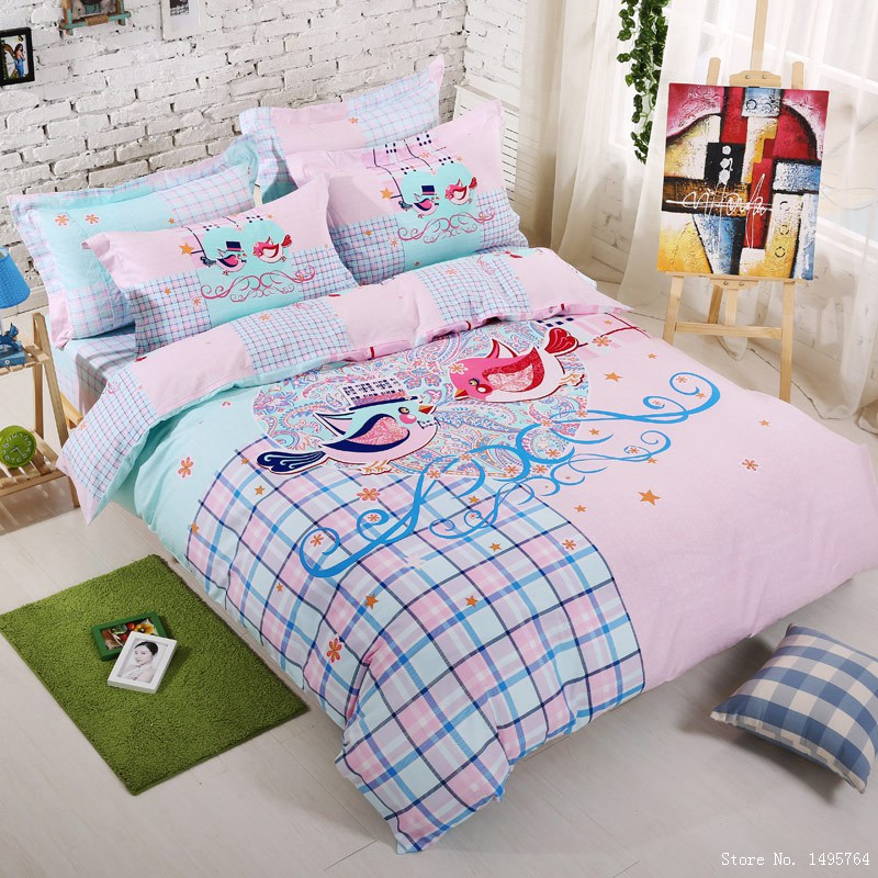2015 New Luxury Pink Bird Bedding Queen Bird Print Themed Bedding Set / Bedding Sheets/queen Bed Set/bed Linen Fast Shipping In Bedding Sets From  Home ...