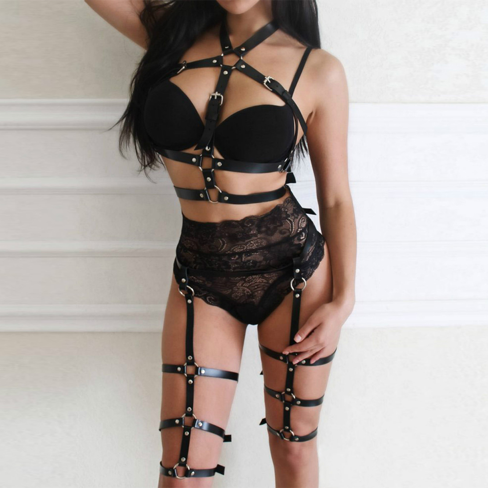 2pcs/set Women Belt Leather Harness Sexy Exotic Tanks Underwear Sex Bdsm Bandage Punk Goth Lingerie Cage Straps Bra Garter Belts