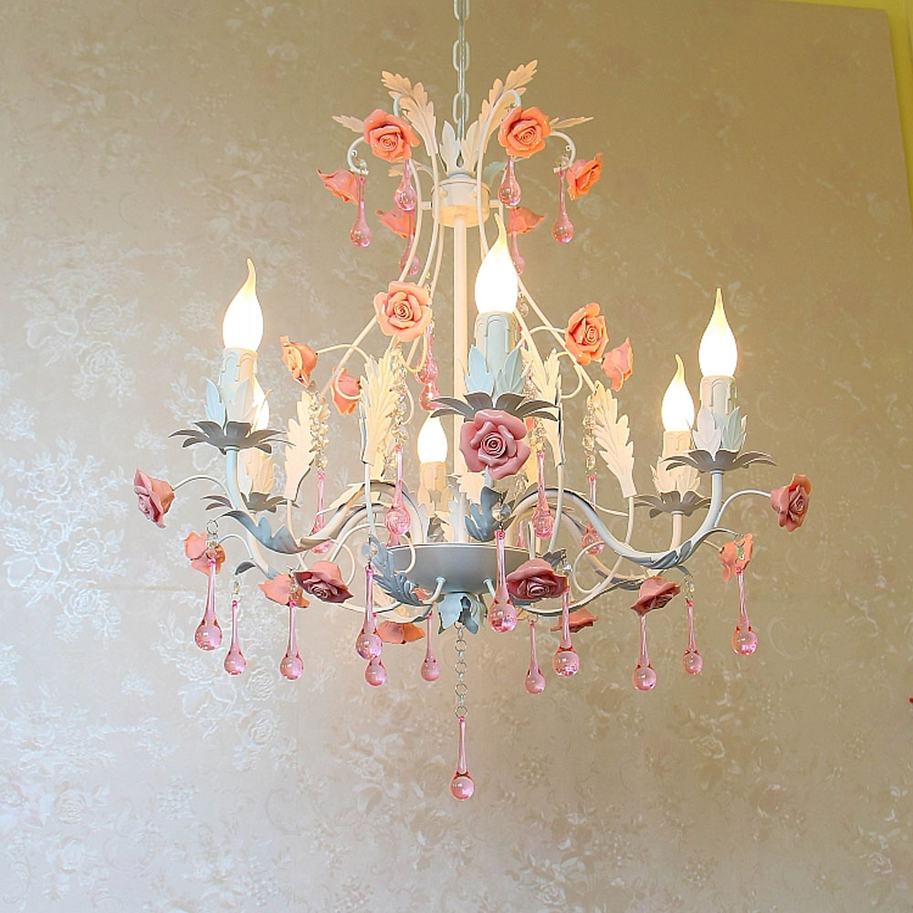 Top Past European Style Pink Crystal Chandelier Rose Iron 110v 220v Fashion E14 Modern Children Bedroom Chandeliers