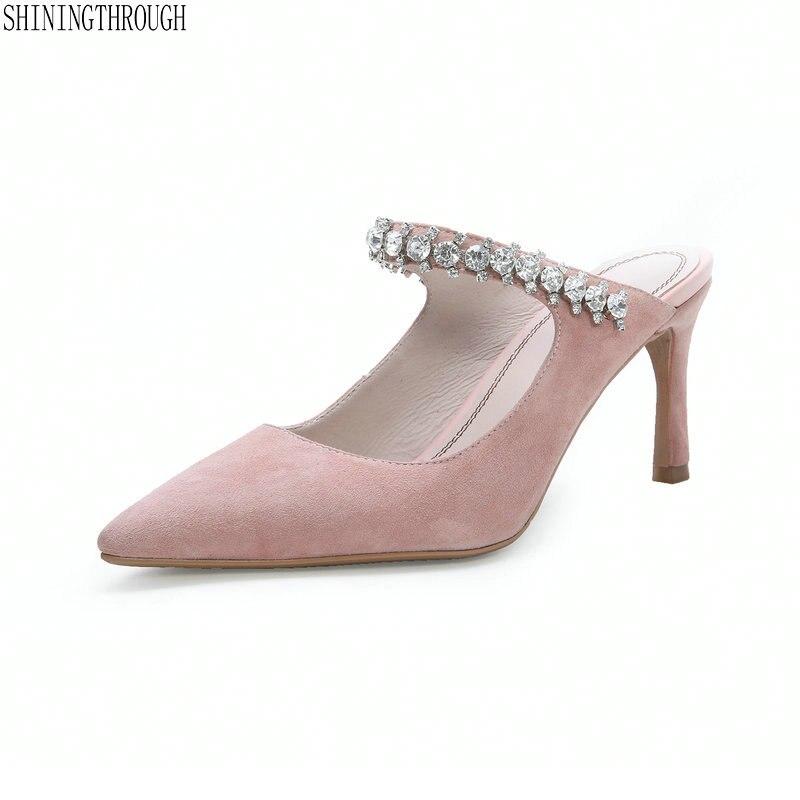 Ayakk.'ten Terlikler'de Kadın Yaz Katır Terlik Yüksek Topuklu Bayanlar kristal Sivri Burun yaz Tarzı Dış Ayakkabı Kızlar Için'da  Grup 1