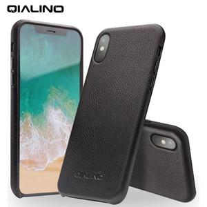 Image 1 - QIALINO Hakiki Deri Telefon iphone için kılıf XS El Yapımı Lüks Moda Ultra Ince Arka kol kapağı için iPhoneXS için 5.8 inç