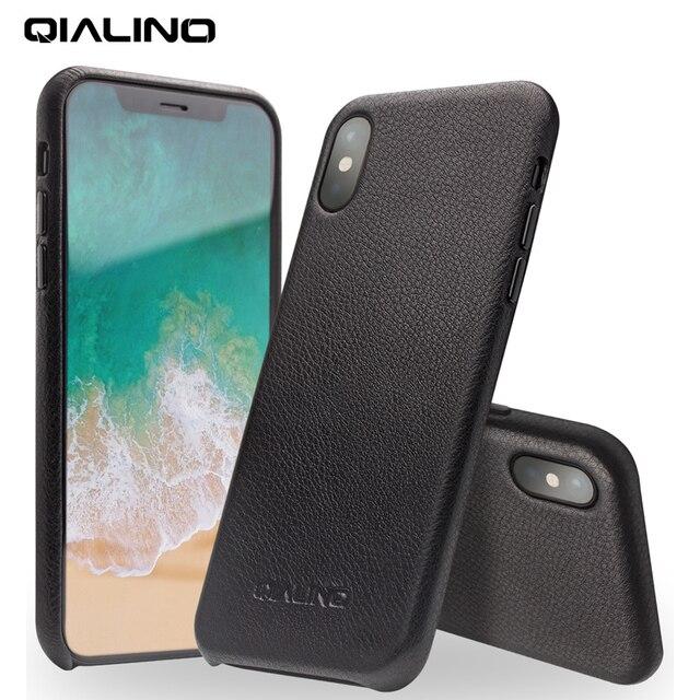 QIALINO Hakiki Deri Telefon iphone için kılıf XS El Yapımı Lüks Moda Ultra Ince Arka kol kapağı için iPhoneXS için 5.8 inç
