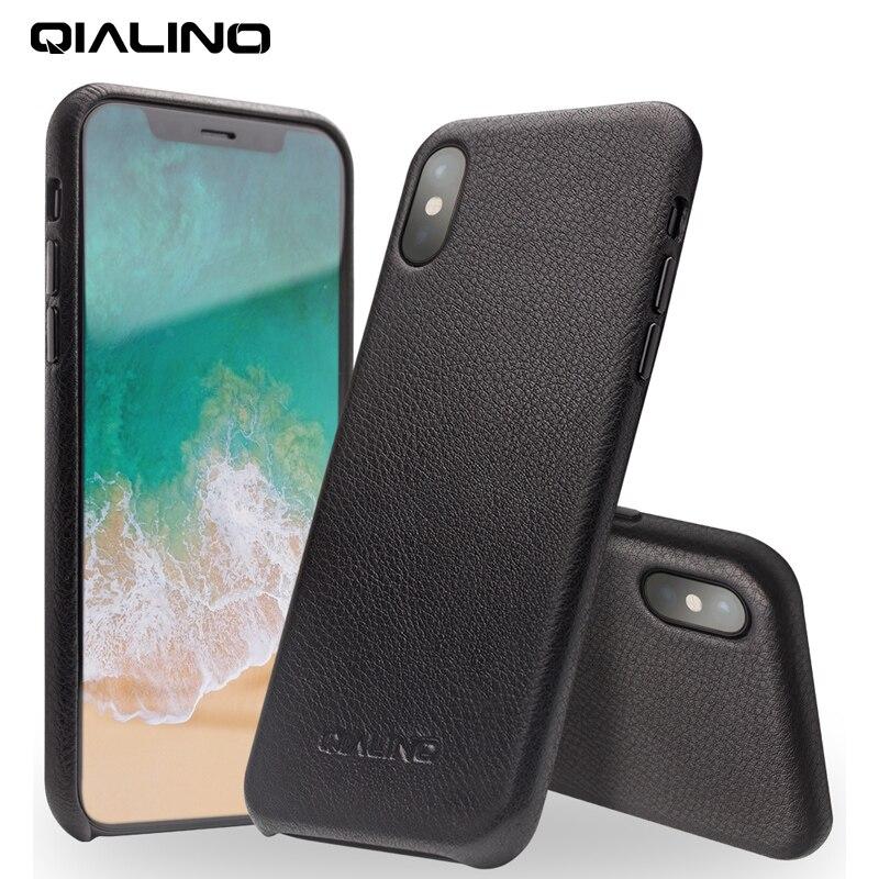 QIALINO Véritable Cas de Téléphone En Cuir pour iPhone XS À La Main De Luxe De Mode Ultra Mince Retour Manches Couverture pour iPhoneXS pour 5.8 pouce