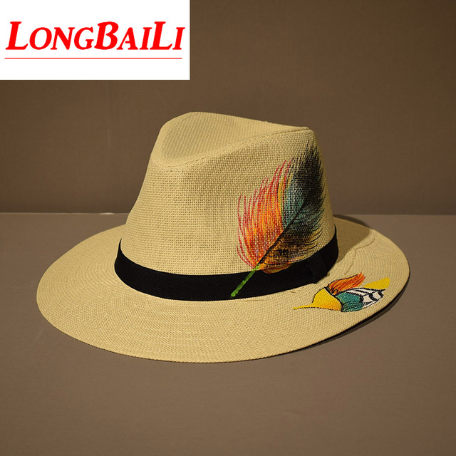 727b3d4d629e78 Summer White Wide Brim Straw Fedora Hats For Men Chapeau Panama Fashion  Jazz Trilby Caps Free