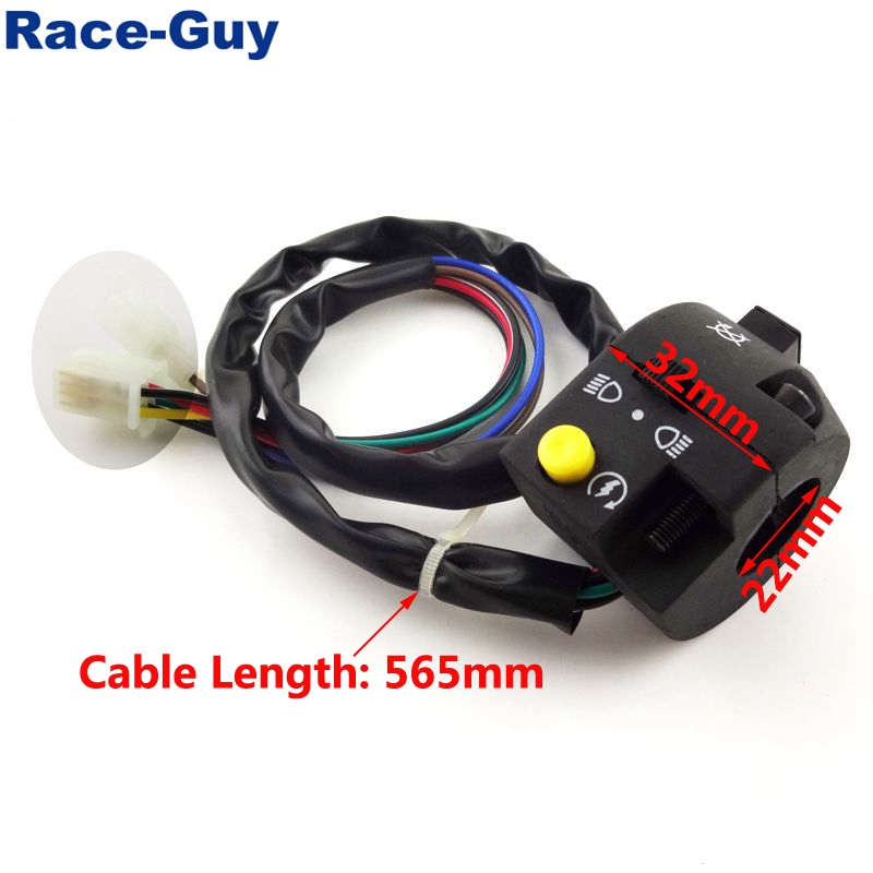 Race-Guy Left Handle Control Switch Assembly 3 Function 7 Wire For Chinese ATV Quad 4 Wheeler 50 70cc 90cc 110cc 125cc