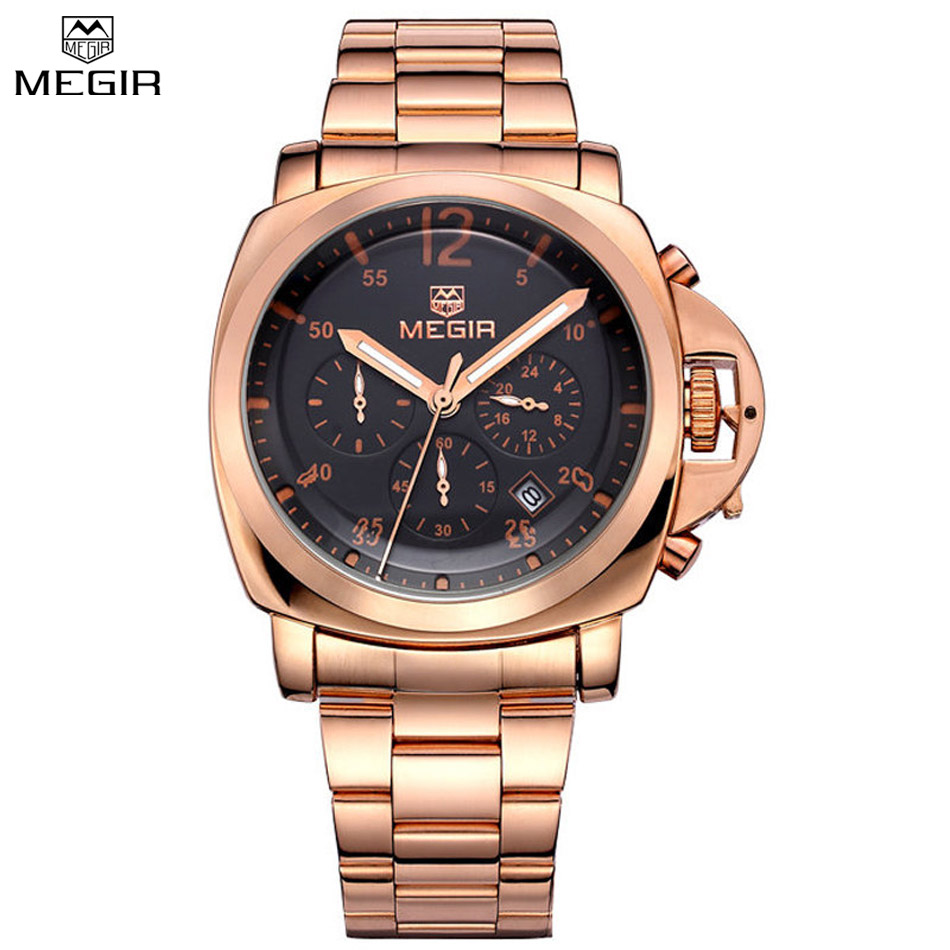 MEGIR Chronograph Waterproof Multifunction Quartz Military Watches Men Shows Stainless Steel Luxury Watches Relogio Masculino