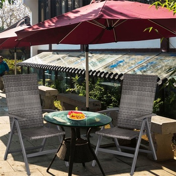 Adjustable 2 Pcs Rattan Folding Reclining Outdoor Wicker Portable Chairs Waterproof And Wear-resistant Garden Chair SetHW59992