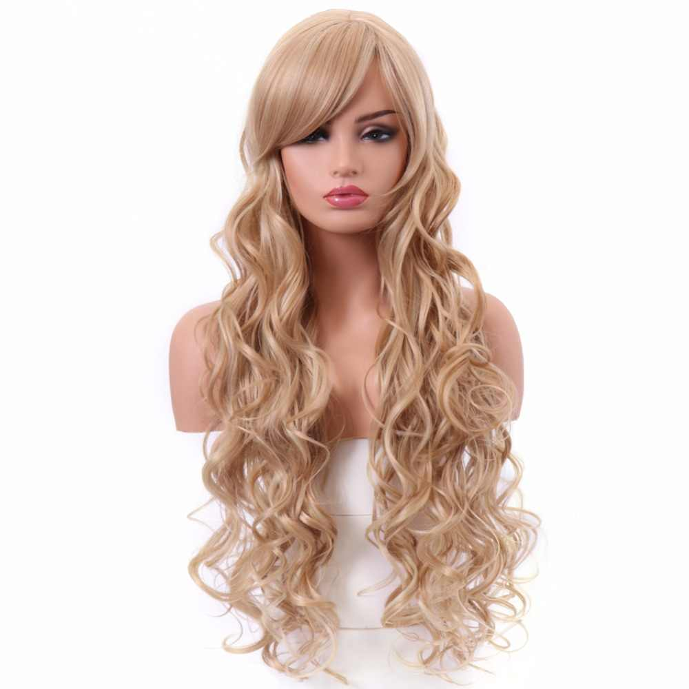 BESTUNG 28 Inch Long Curly Wigs Body Wavy Brown mix Blonde Ombre with Side Bangs Synthetic Hair Wig Cosplay Costume Full Wig