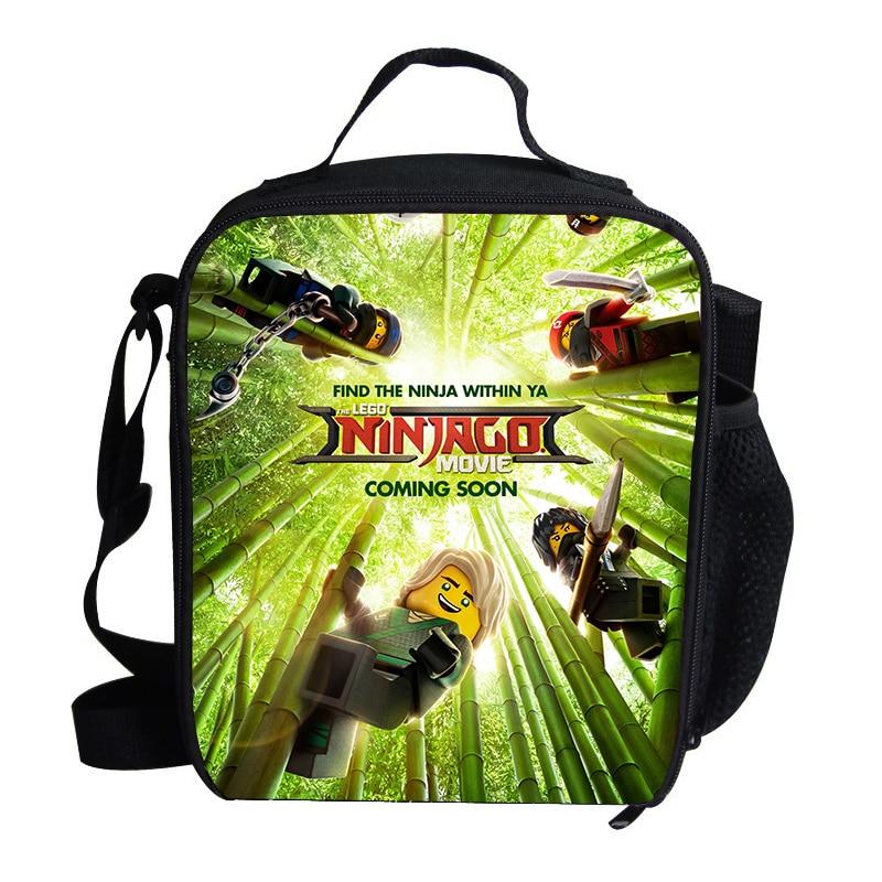 Cartoon Anime LEGO Ninjago Print Thermal Insulated Lunch Bag for Girls Boys Kids Famous Cartoon Picnic Shoulder Bags For Snacks