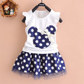 2016 new t shirt +Skirt baby kids suits 2 pcs fashion girls clothing sets children clothes bow tops suit Dresses 2-7T