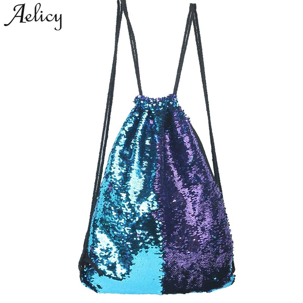 Aelicy Sequins Backpack Drawstring-Bag Main-Femmes Bags Knapsack Teenage-Girls Fashion