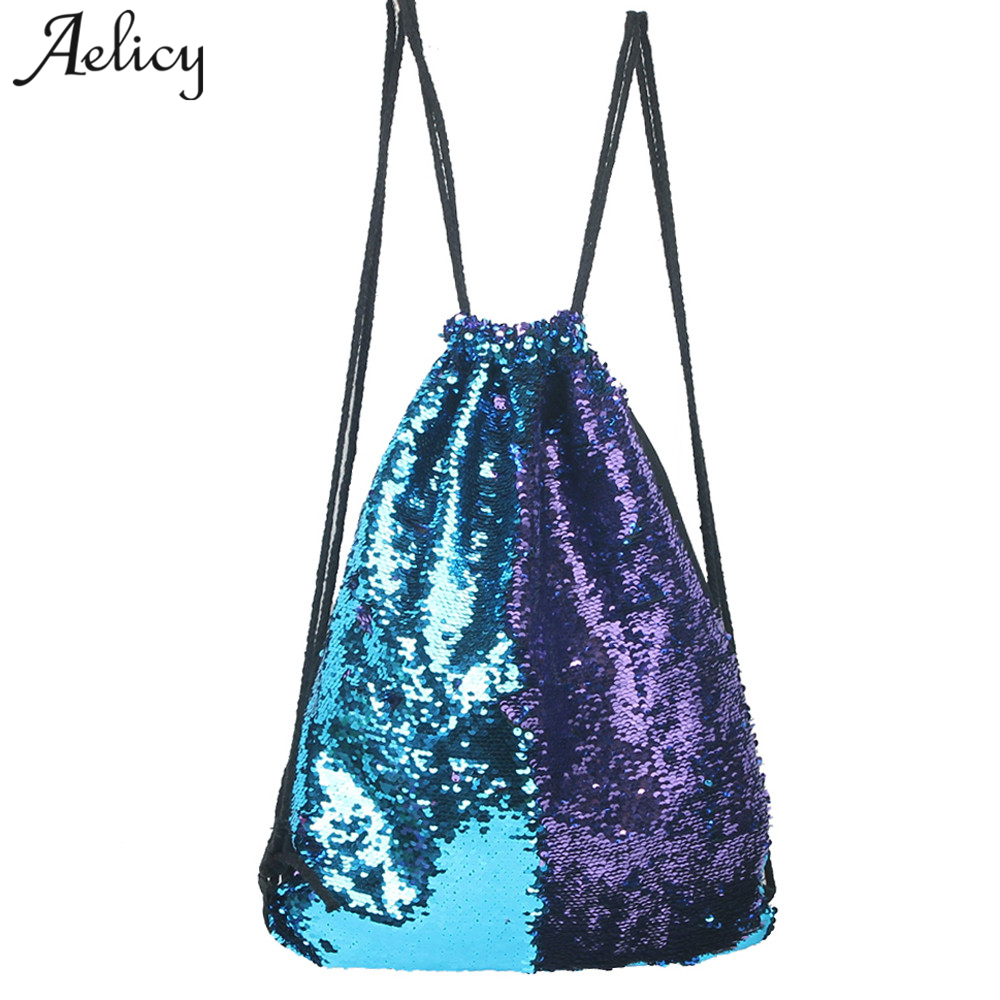 Aelicy Drawstring Bag Sequins Backpack Fashion Casual Double Color Unisex Bags Teenage Girls Boys Knapsack Sacs A Main Femmes