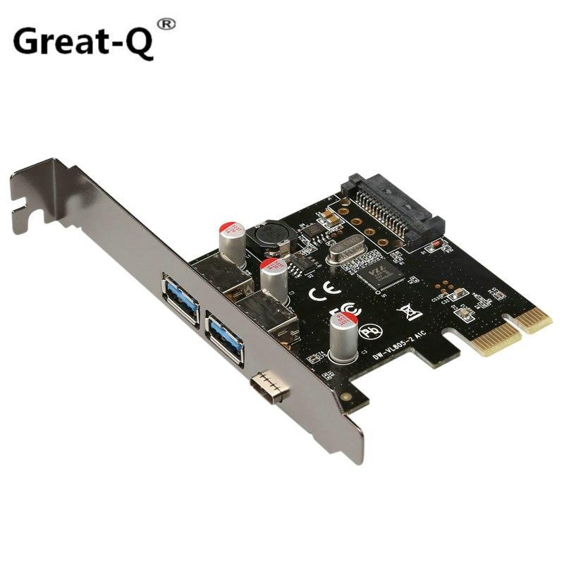 Grand-Q PCIE PCI Express à usb 3.1 type-c usb 2 ports 3.0 carte de montage pci-e adaptateur type c Réversible carte sata 15 p puissance