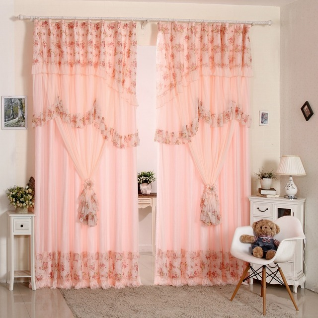 Korean Style Pink Lace Ruffled Window Valance Shade Cloth Tulle ...
