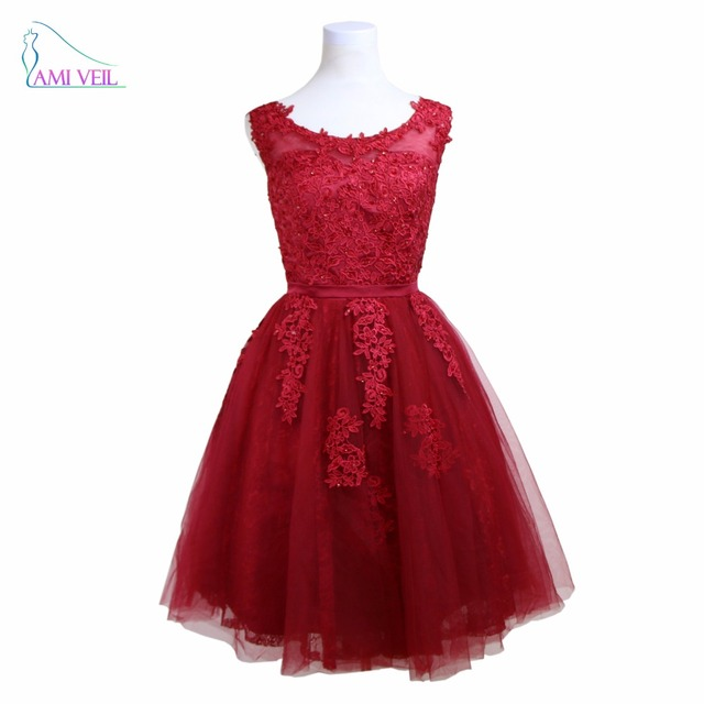 50549c227e02 Dark Red Dress for Graduation Bead Lace Gown Prom Dresses Short Burgundy  Evening Party Dress Elegant Formal Vestido Soiree GF103