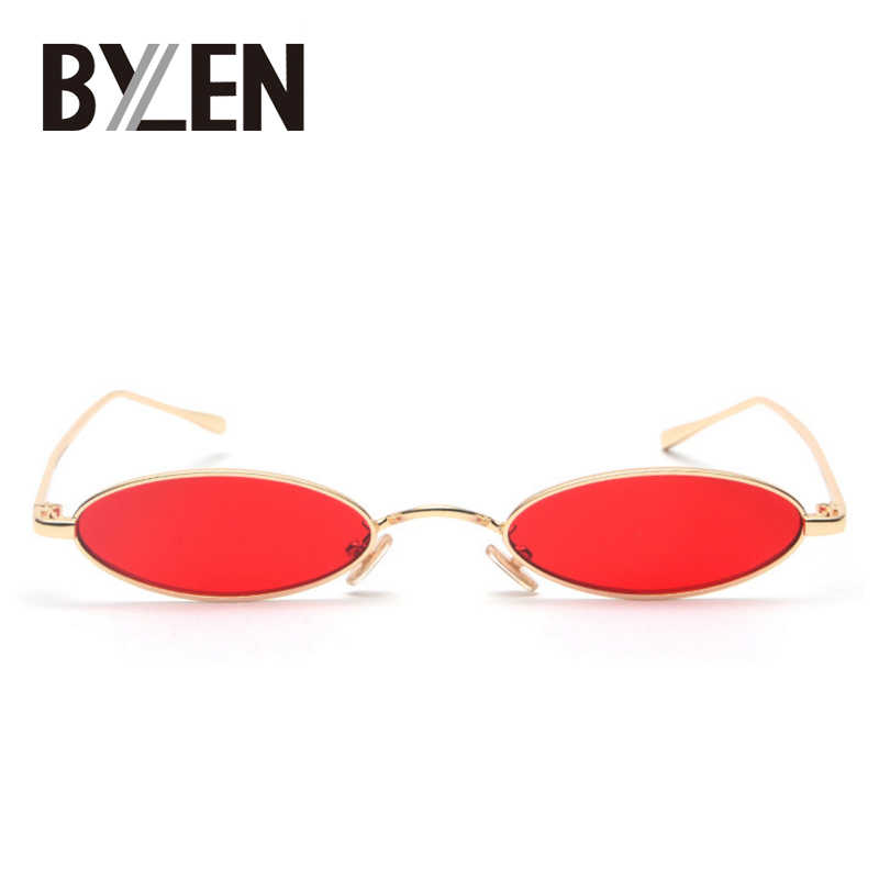 Nowe małe owalne metalowe ramki okularów przeciwsłonecznych mężczyzna Retro marka projektant czerwony Steampunk Vintage okrągłe jasne lustrzane okulary przeciwłoneczne dla kobiet