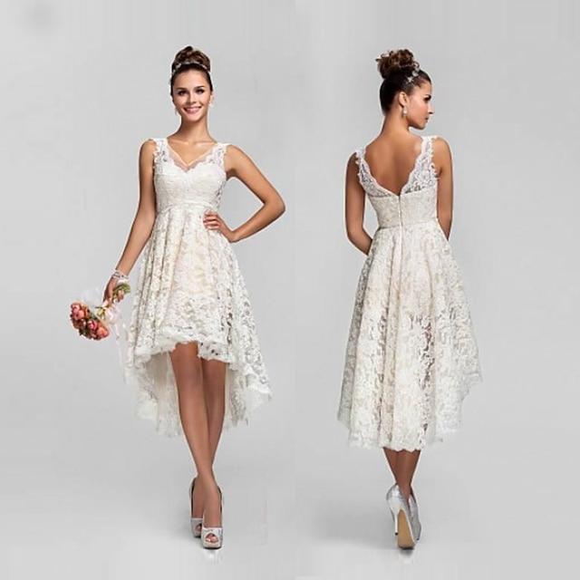 Vintage Eine Linie Hallo Lo Kurze Spitze Brautkleider 2017 Neue ...