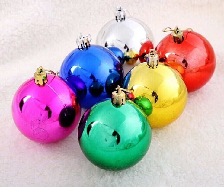 Christmas ball plastic electroplating 3 6 8cm ball for Decoration sapin de noel americain