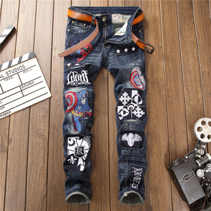 New arrival slim fit straight men jeans patchwork patches elastic scratched stylish denim pants nightclub punk trousers youth