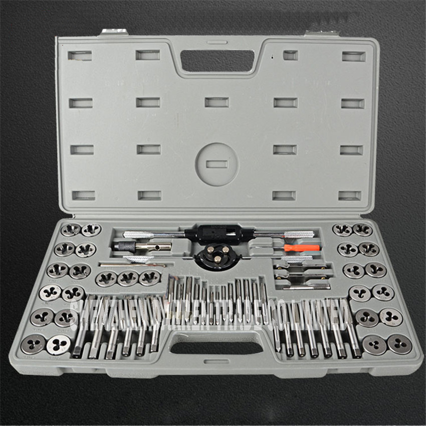 60 pcs / set tap and die sets m3 ~ M12 metric screw plugs taps & amp; tap & amp; die wrench, taps to hand screw by hand threadin hot sale 20pcs set tap and die m3 m12 screw thread metric plugs taps