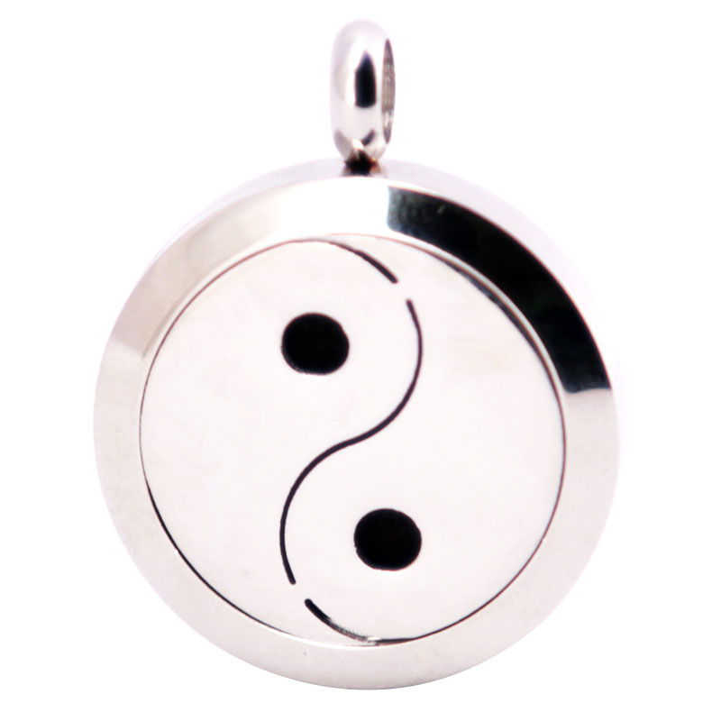 316L Stainless Steel 25mm Taiji Necklace Pendant Aroma Essential Oil Diffuser Lockets Include 10pcs Felt Pads as Gift