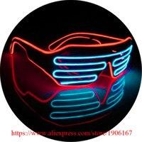 El Wire Sunglasses Fashion Double Color LED Lighting Flash Shutter Glasses Sound Music Voice Activate Luminous