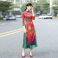 2018 spring butterfly print Vietnam aodai cheongsam dress
