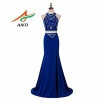 ANTI Robe De Soiree Sweetheart Royal Blue Evening Dress Party Elegant Vestido De Festa Long Prom Gown 2018 With Crystal Shine