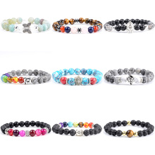 Модные мужские часы наручные ювелирные изделия 7 Чакра Исцеляющие буддийские браслеты для женщин мала-Йога ювелирные изделия подарок Прямая поставка