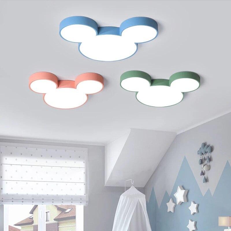 Macaron nordique lustre Mickey plafond moderne à LEDs lampe chambre enfant chambre enfant Deco lustre luminaire lampe à LED luminaires