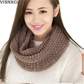 2017 Female Scarves Fashion Women Scarf Solid Autumn Crochet Blend Wrap Ring Long Shawl Warm Winter knitted Circle Snood J018