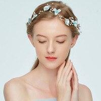 Girl S Gift Green Wreath Headband Wedding Hair Accessories Pearl Leaves Flower Hairband Bridal Hair Accessories
