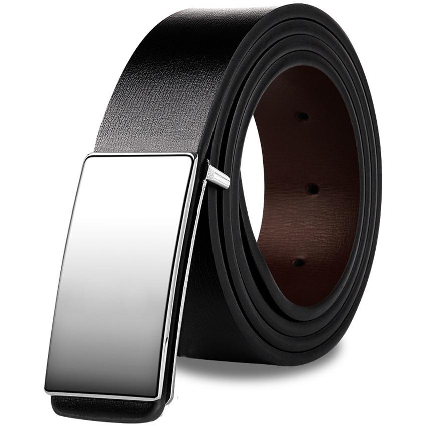 5 Size Men Business Style   Belt   Long Genuine Leather Sliding Buckle   Belt   For Men Suits Jeans 3.4CM Width Black   Belt   Men's Gift