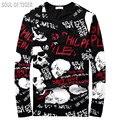 Elemento crânio Luxo Marca Streetwear Cotton Mens Camiseta de Manga Comprida Camisa Masculina Magro Aptidão Camisetas MMA Camiseta do Homem 3d