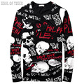 Skull Element Luxury Brand Streetwear Cotton Mens Long Sleeve T Shirt Slim Fitness Man 3d T-Shirts MMA Tshirt Camisa Masculina