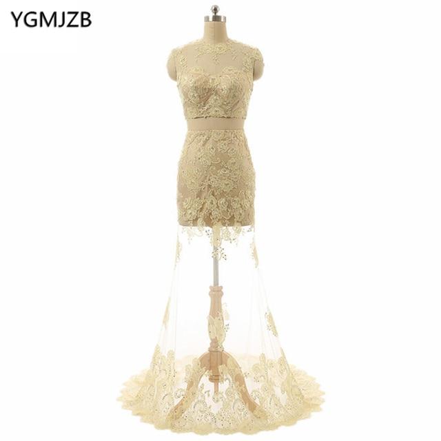 Open Back Champagne Abendkleider Lange 2018 Meerjungfrau Oansatz Kappe  Sleeve Zweiteiler Prom Kleid Spitze Abendkleid Robe De Soiree in Open Back  ...