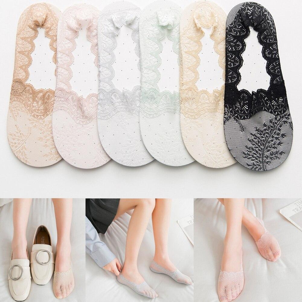 Lot Women Girls Elastic Silk Socks Low Cut Non Slip No Show Ankle Stocking Korea