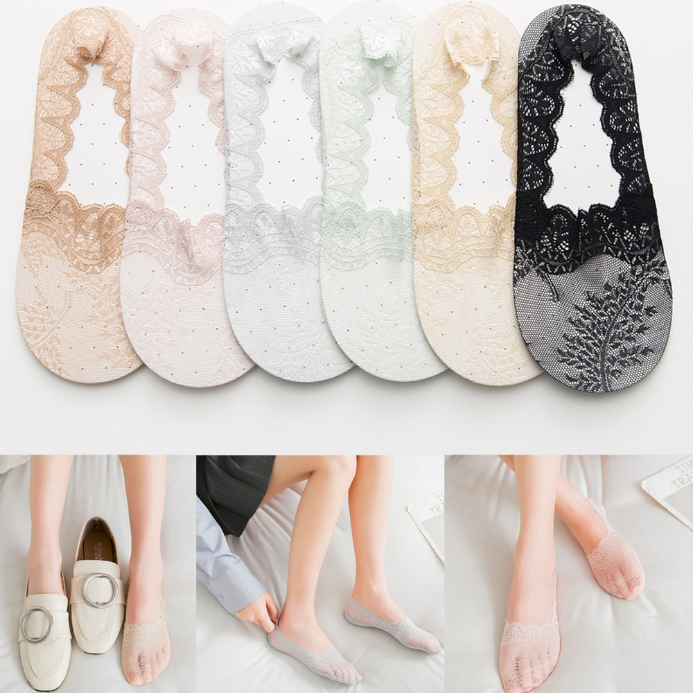 Summer Non-slip Lace Cross tie Invisible Elastic Boat Socks for Ladies Girls