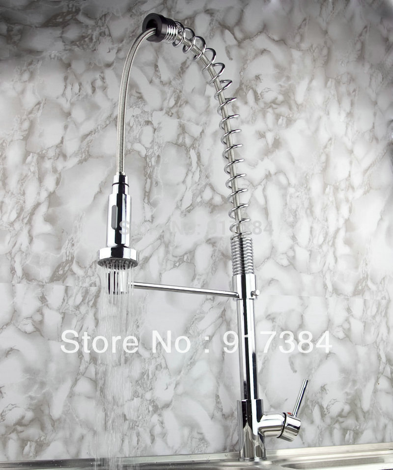 New Modern Stream Hot/Cold Water Chrome Swivel Spout Pull out Spray Kitchen Single Hole Sink Faucet JN8550 new pull out sprayer kitchen faucet swivel spout vessel sink mixer tap single handle hole hot and cold