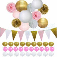1 Set Pink Gold Party Package Glitter Banner Balloon Lantern Baby Girl Shower Bridal Shower Birthday