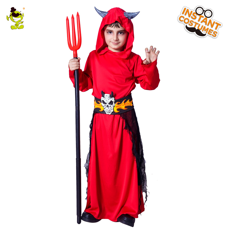 c35a63f34d2c Boys Red Devil Costumes Halloween Masquerade Party Cosplay Fancy ...