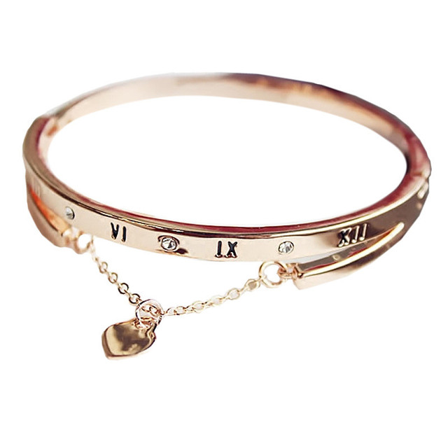 New Trendy Rose Gold-color Roman Numerals Bracelets Statement Love Heart Bracelets & Bangles Fashion Jewelry For Women Gift