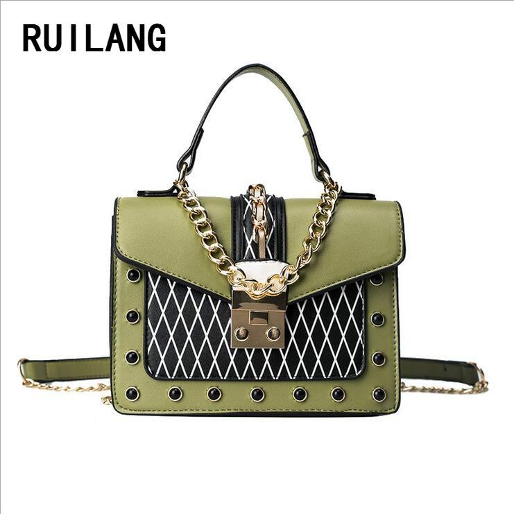RUILANG 2018 Women Fashion Chains Handbag Socialite Female Shoulder Bag Ladies Crossbody Bag Tote Bag Women PU Leather Hand Bags