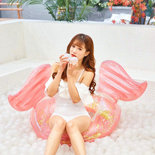 YUYU New arrival 130cm Sequin inflatable pool float angel shiny wing Swim Ring circle swimming Float tube toy