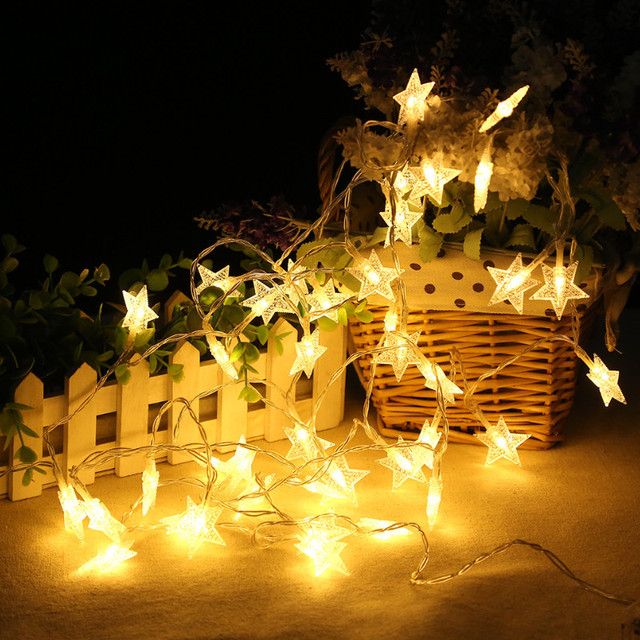 3m star fairy lights battery operated led christmas lights outdoor indoor string garland for tree garden