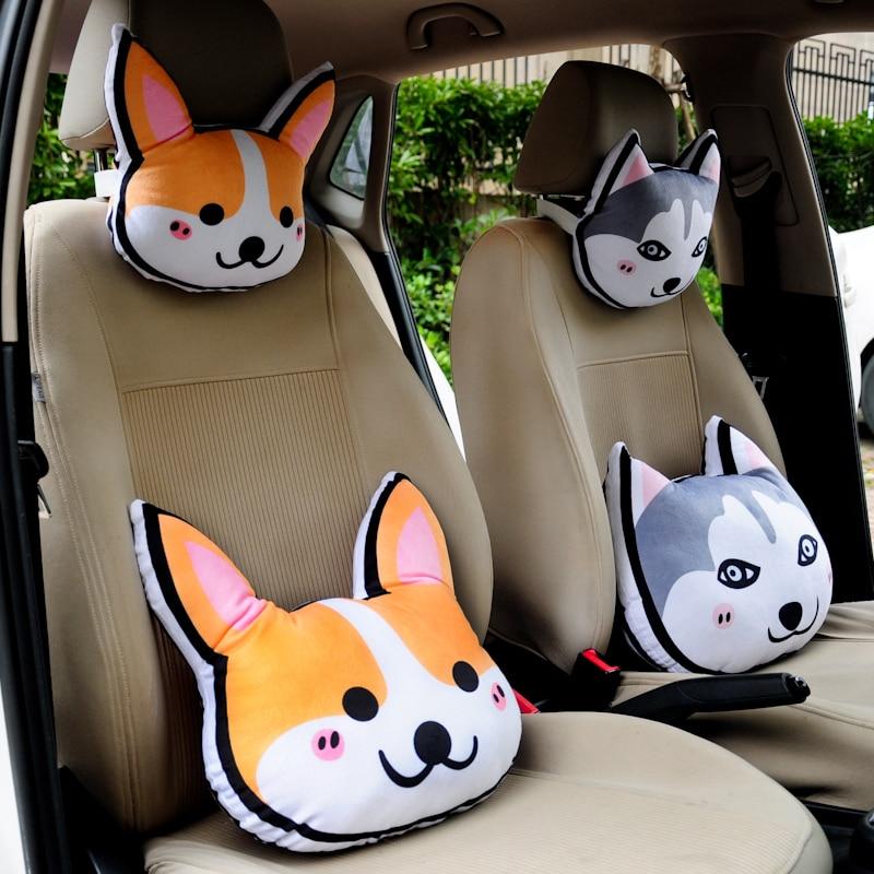2018 New Cute 1pc 28cm Shiba Inu Samoyed Husky Schnauzer Corgi cartoon dog car headrest neck pillow travel pillow children gifts cartoon dog plush pillow shiba inu