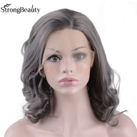 Lace Front Wigs Short Bob Cut Wavy Gray Wig Heat Resistant Glueless Synthetic Wigs for Women 14 Inches