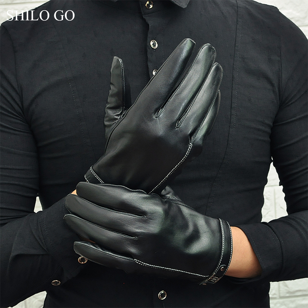 SHILO GO Leather Gloves Mens Spring Fashion Sheepskin Genuine Leather Gloves Metal Rivet Button Business Comfortable Gloves