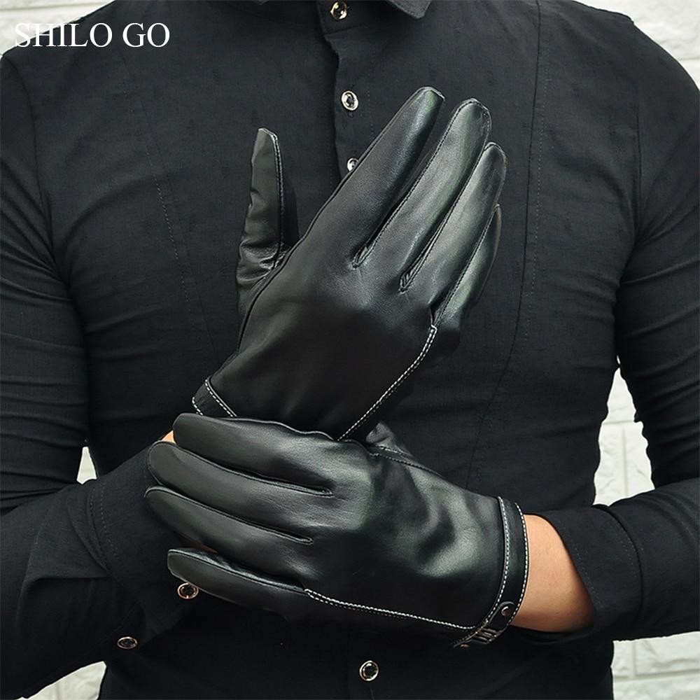 SHILO GO Leather Gloves Mens Spring Fashion Sheepskin Genuine Leather Gloves Metal Rivet Button Business Comfortable Gloves